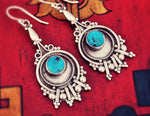 Rajasthani Silver Earrings with Turquoise