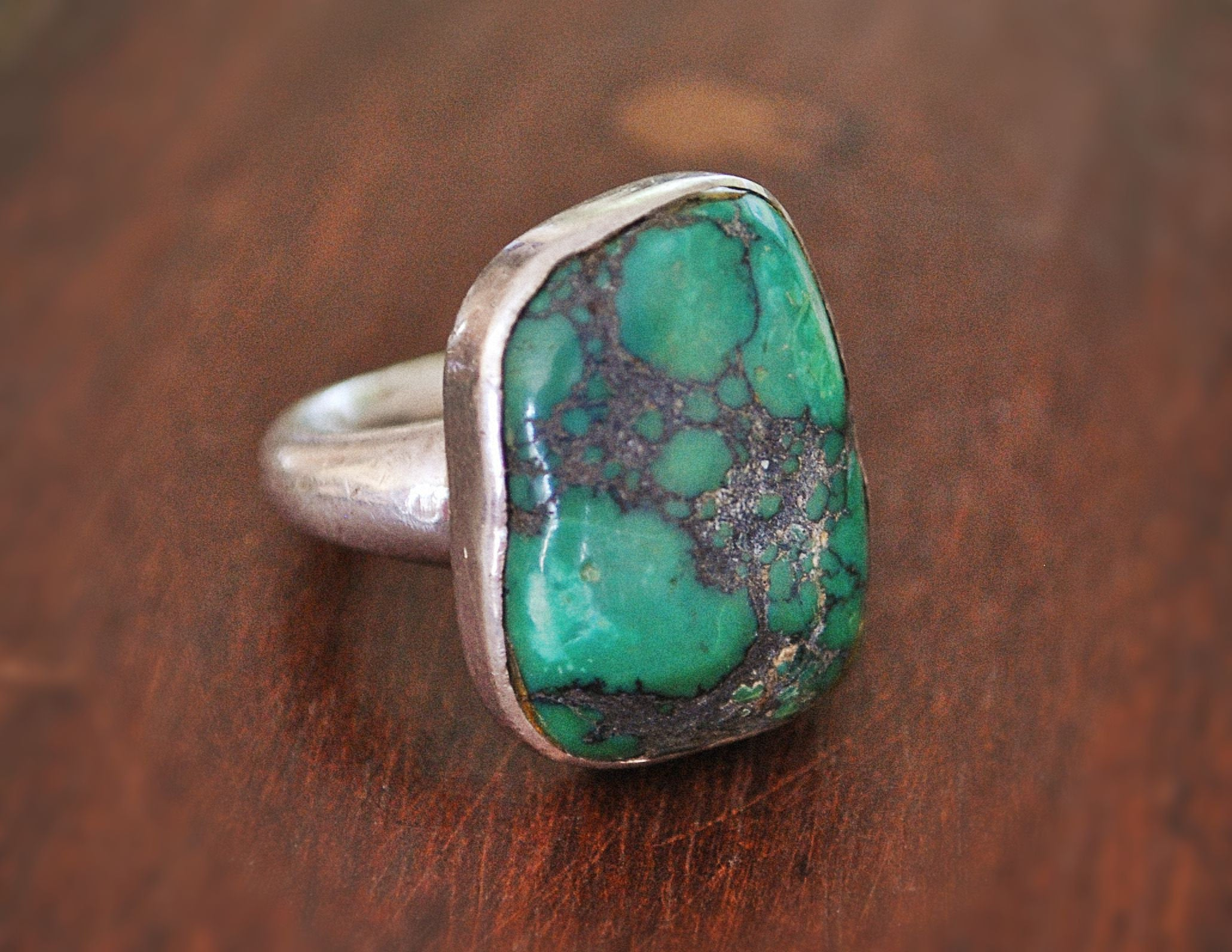 Turquoise Nugget Ring - Size 7.5 - Turquoise Ring - Indian Turquoise Ring - Turquoise Nugget Ring