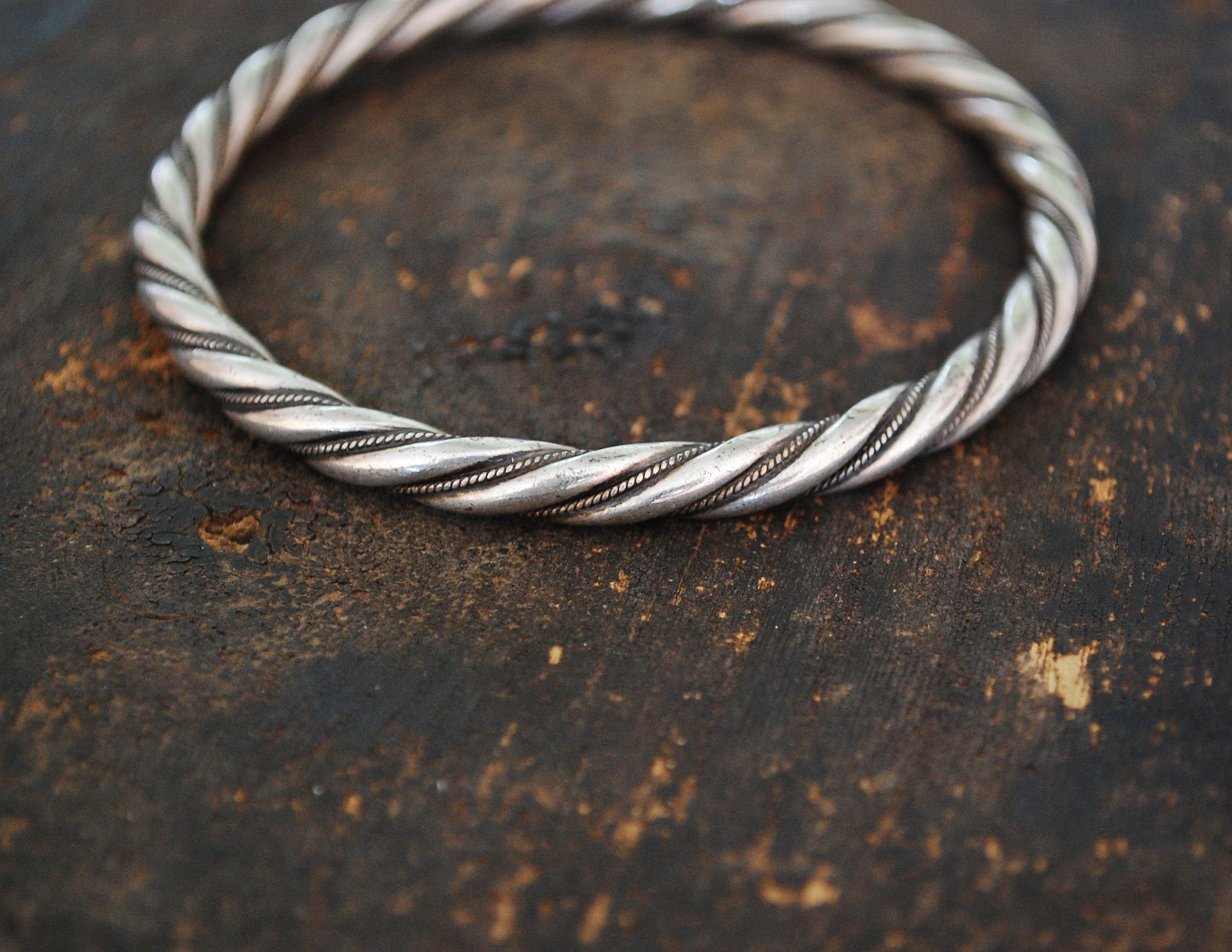 Twisted Bangle Bracelet Sterling Silver - Native American Twisted Bangle Bracelet - Twisted Sterling Silver Bracelet - Ethnic Jewelry