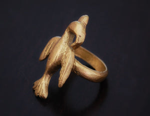 Old Akan Bird Ring - Size 10 - Ashanti Bird Ring - Adinkra Bird Ring - African Brass Ring from Ghana
