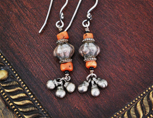 Afghani Silver Coral Dangle Earrings - Afghani Earrings - Afghani Jewelry - Ethnic Earrings - Tribal Earrings - Afghan Earrings