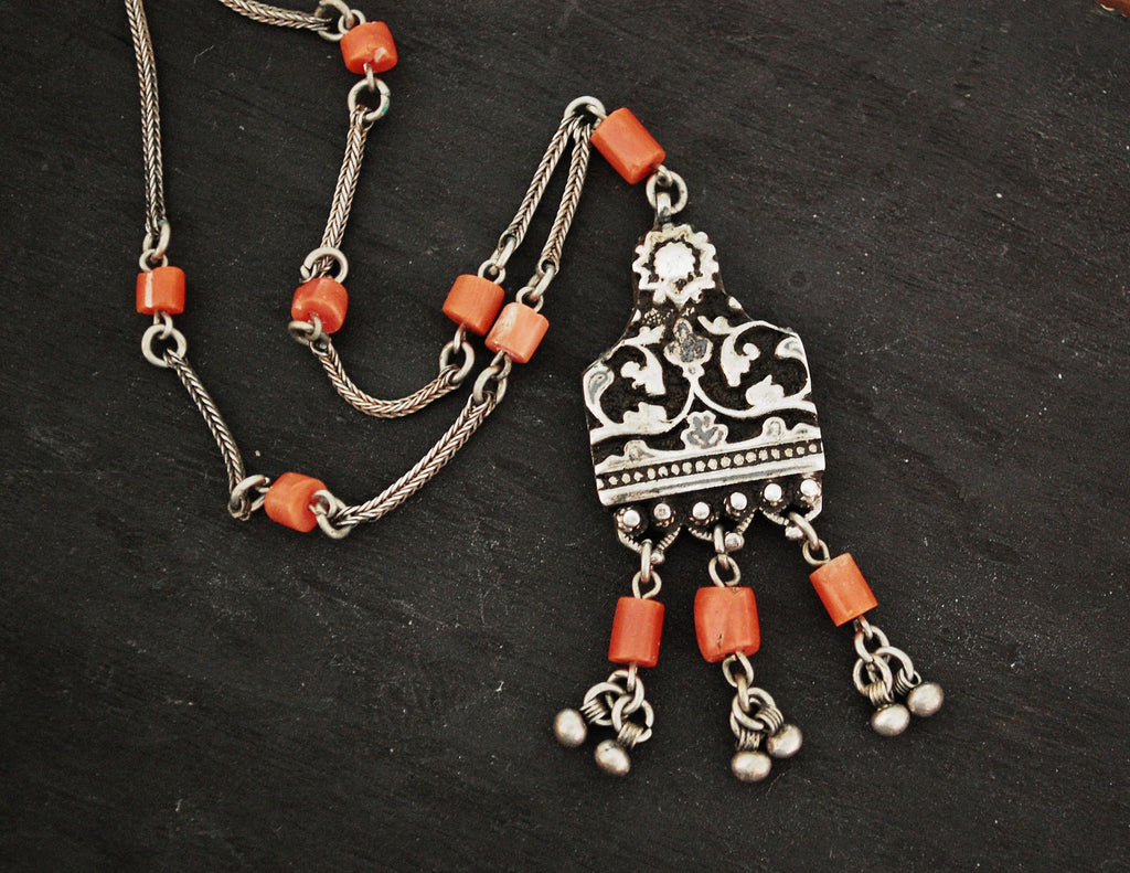 Yemen Coral Necklace - Old Yemen Coral Necklace - Yemen Jewelry - Ethnic Necklace - Yemenite Jewelry - Coral Necklace - Coral Jewelry