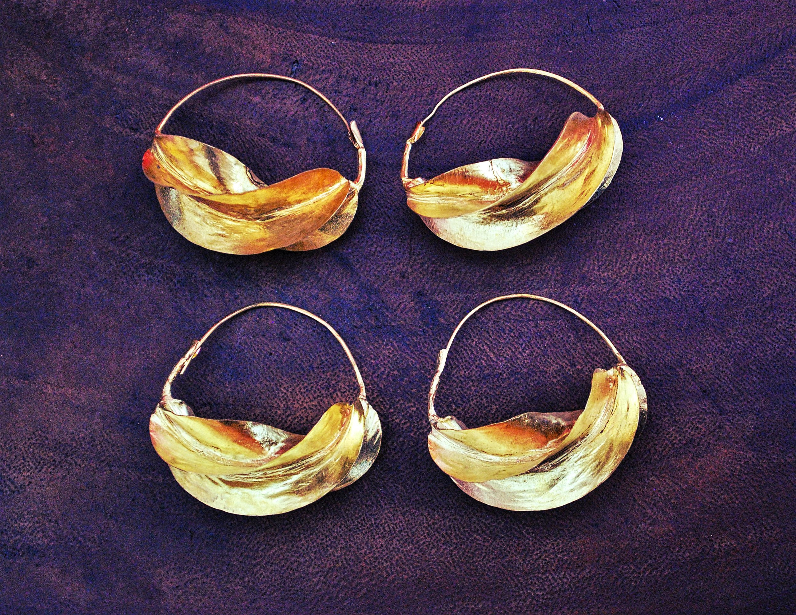 Tribal Fulani Hoop Earrings XL - Gold Plate Copper Hoop Earrings- Ethnic Tribal Hoop Earrings - Fulani Jewelry - Fulani Hoop Earrings