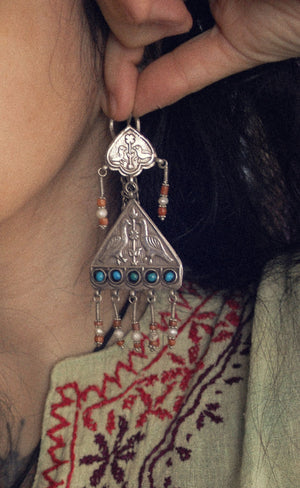 Uzbek Coral Earrings - Central Asian Earrings - Tribal Coral Turquoise Earrings - Uzbekistan Jewelry - Tribal Earrings