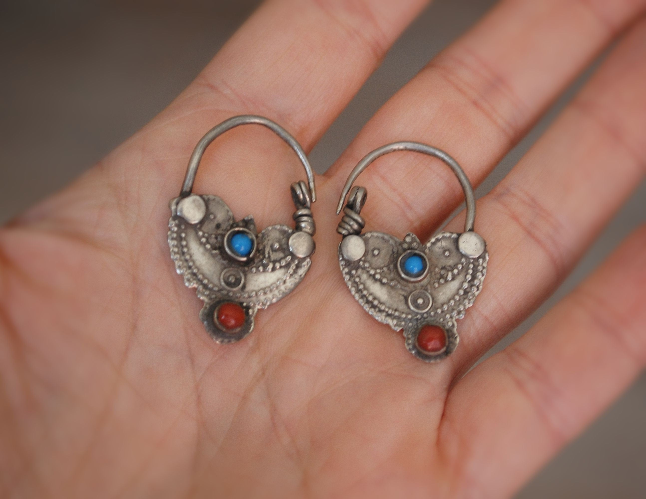 Antique Afghani Hoop Earrings with Turquoise and Coral - Tribal Hoop Earrings - Afghani Jewelry - Ethnic Hoop Earrings - Tribal Earrings
