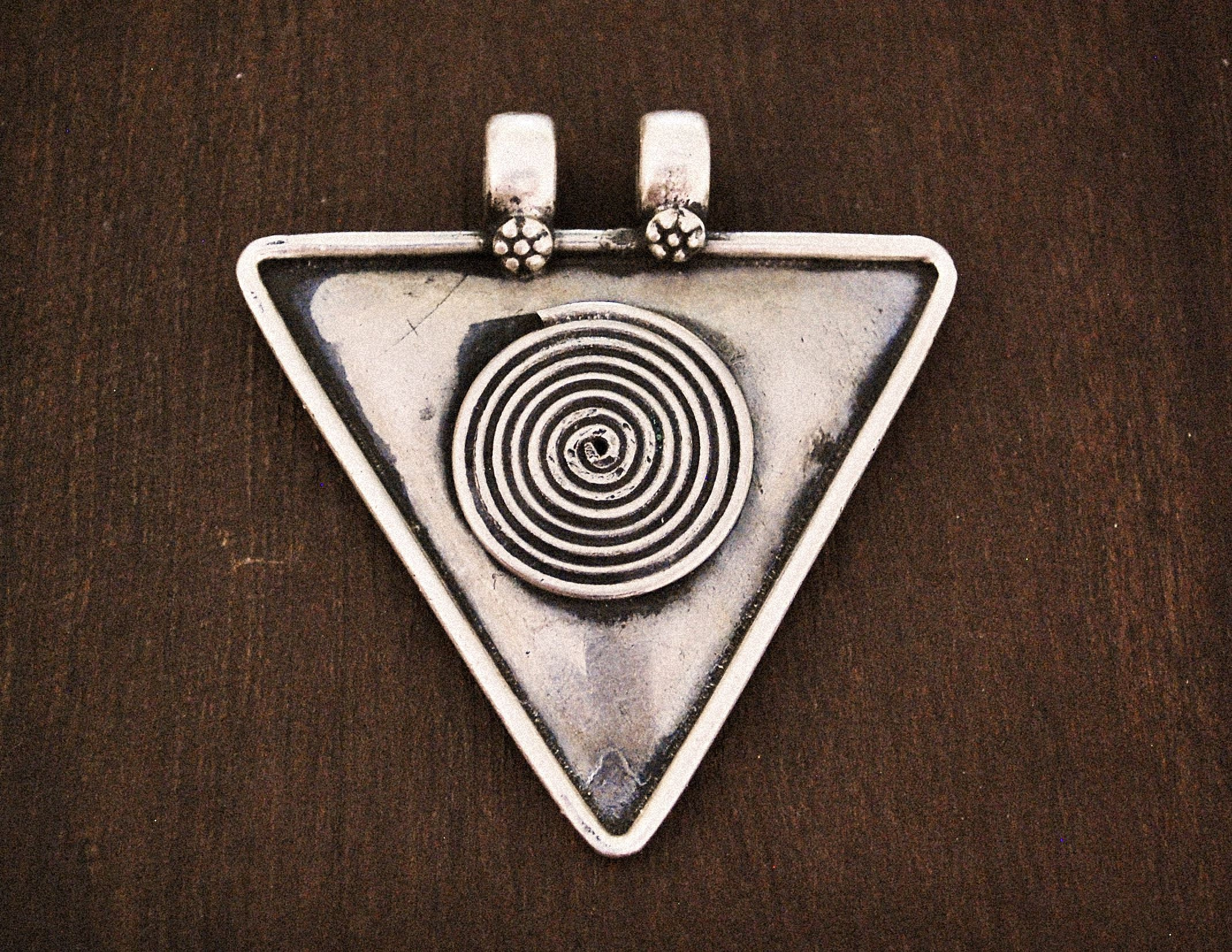 Rajasthan Silver Amulet - Spiral of Life Pendant - Tribal Rajasthan Pendant - Ethnic India Pendant - Magical Amulet