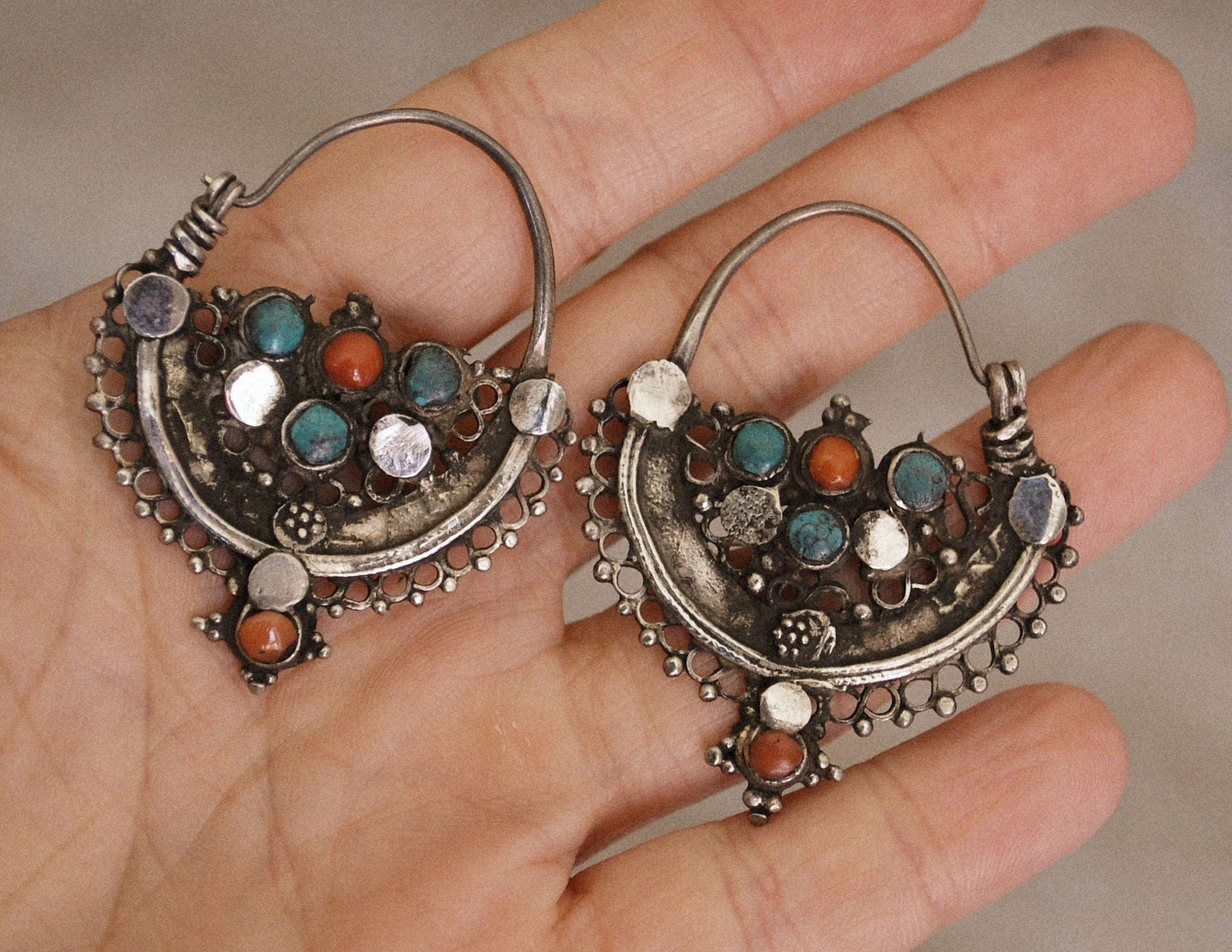 Antique Afghani Hoop Earrings with Turquoise and Coral - Tribal Hoop Earrings - Afghani Earrings - Ethnic Hoop Earrings - Afghani Jewelry