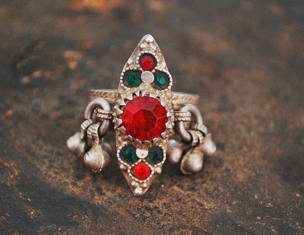 Afghani Ring with Red and Green Glass Stones - Size 8 - Afghani Jewelry - Afghanistan Ring - Ethnic Jewelry - Ethnic Ring