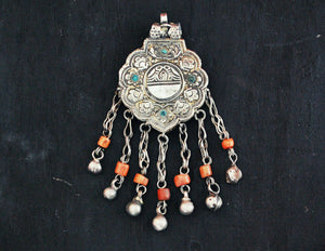 Antique Afghani Silver Pendant with Coral Tassels - Afghani Silver Pendant - Afghani Jewelry - Tribal Pendant - Ethnic Pendant