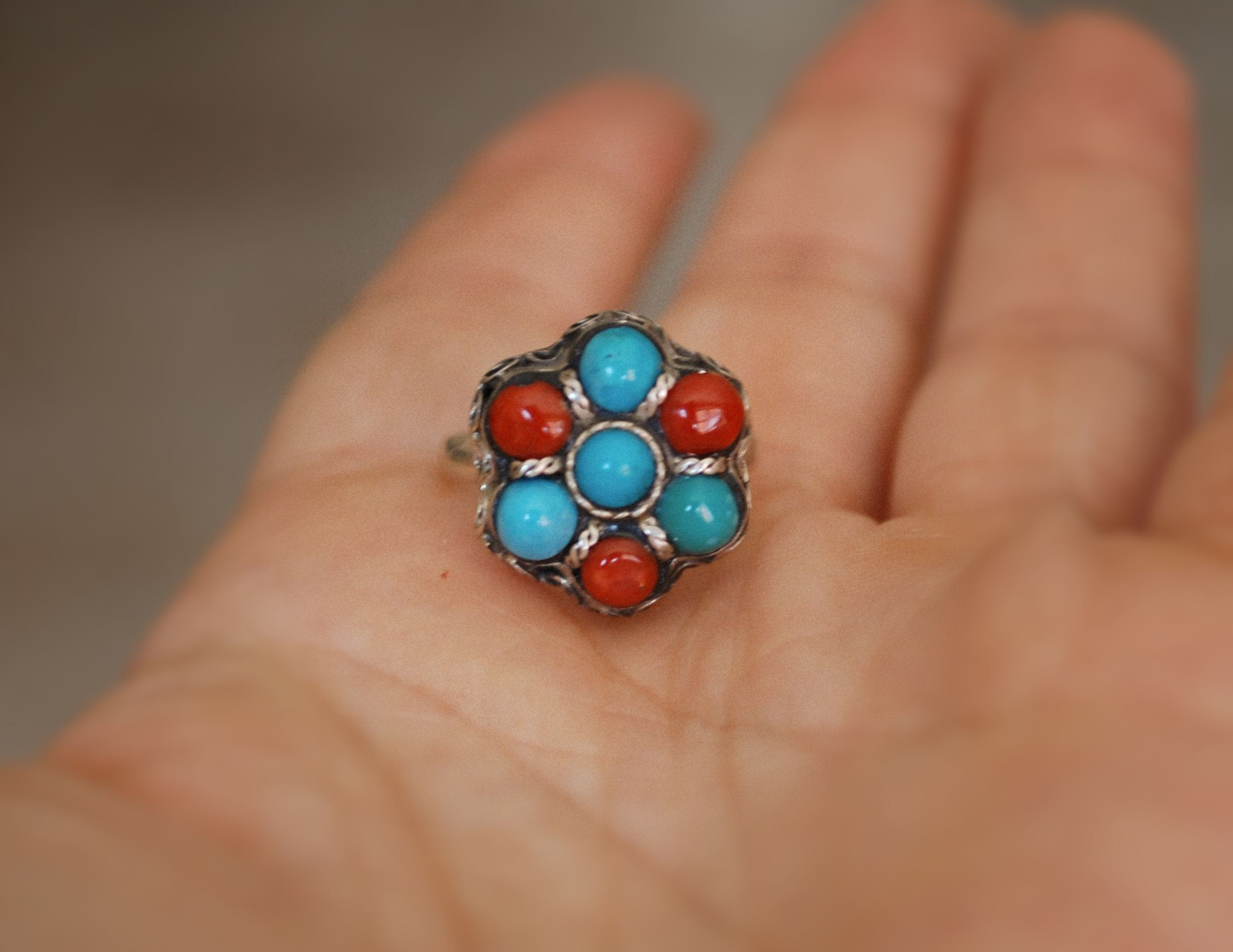 Ethnic Turquoise Coral Ring from India - Size 6