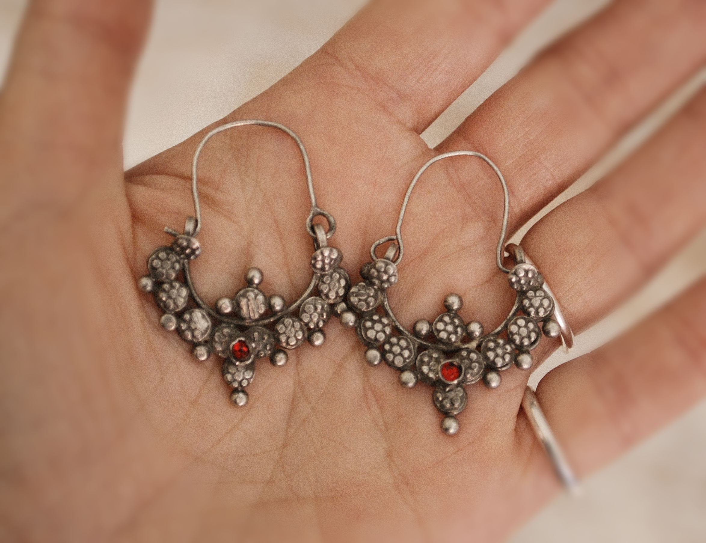 Antique Afghani Earrings - Tribal Hoop Earrings - Afghani Hoop Earrings - Ethnic Hoop Earrings - Afghani Jewelry - Tribal Earrings