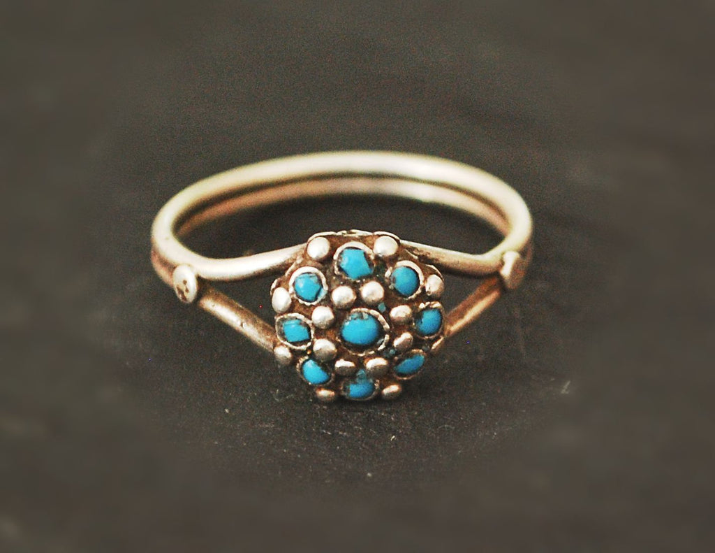Ethnic Turquoise Ring from India - Size 7 3/4 - Rajasthani Ring - Rajasthani Jewelry - India Silver Ring - Ethnic Jewelry
