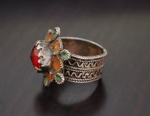 Berber Ring with Enamel - Size 8.5 - Berber Jewelry - Ethnic Ring - Tribal Ring - Moroccan Jewelry - Ethnic Jewelry
