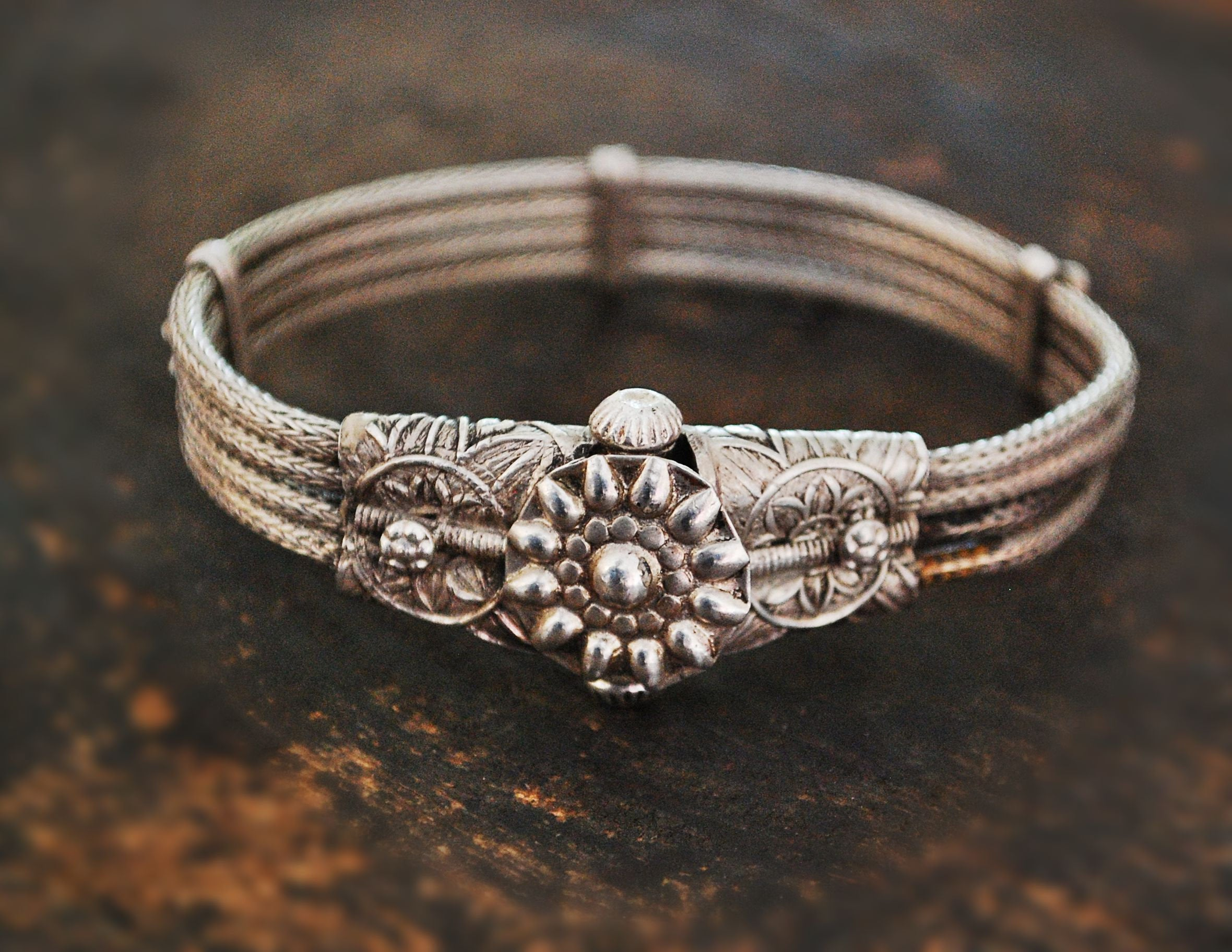Rajasthani Silver Bracelet - Indian Snake Chain Bracelet - Rajasthan Snake Chain Bracelet with Flowers - Rajasthani Jewelry