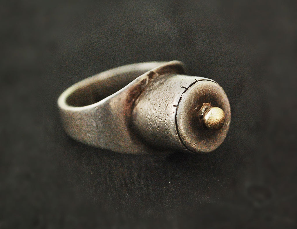 Tuareg Silver Ring with Golden Top - Size 8.5 - Tuareg Ring - Tuareg Protection Talisman Ring - Tuareg Jewelry - Tribal Ring - Medecine Ring