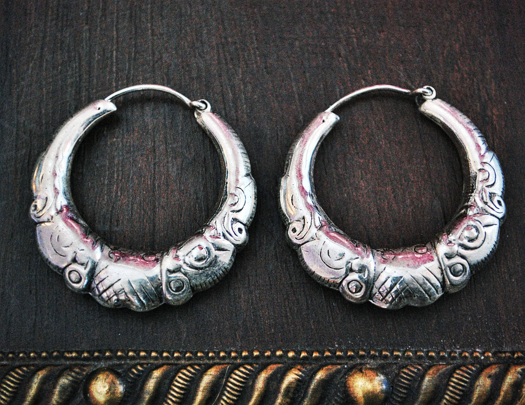 Rajasthani Silver Hoop Earrings - Sterling Silver Hoop Earrings from India - Ethnic Sterling Silver Hoop Earrings - Rajasthan Silver