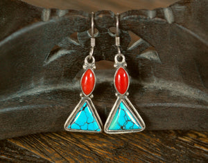 Ethnic Coral Turquoise Earrings