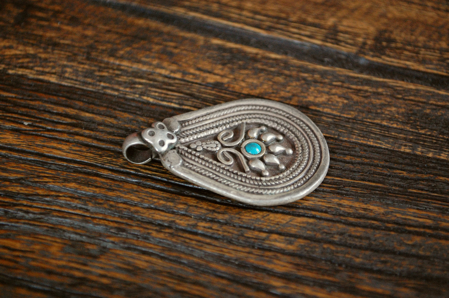 Tribal Indian Silver Pendant with Turquoise - Tribal Rajasthan Silver Amulet - Ethnic Tribal Indian Pendant - Gypsy Silver Pendant