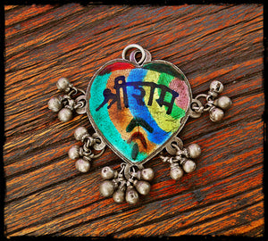 Tribal Indian Amulet with Bells - Rajasthan Silver Amulet - Indian Ram Pendan - Tribal Indian Silver Pendant