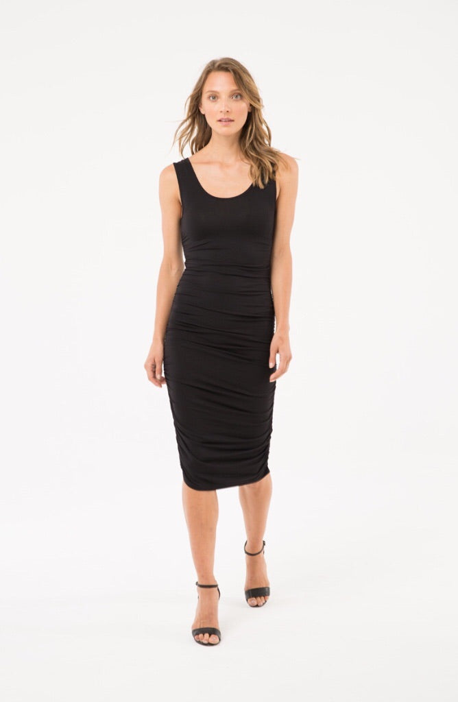 Bamboo Body Ruched Tank Dress Black