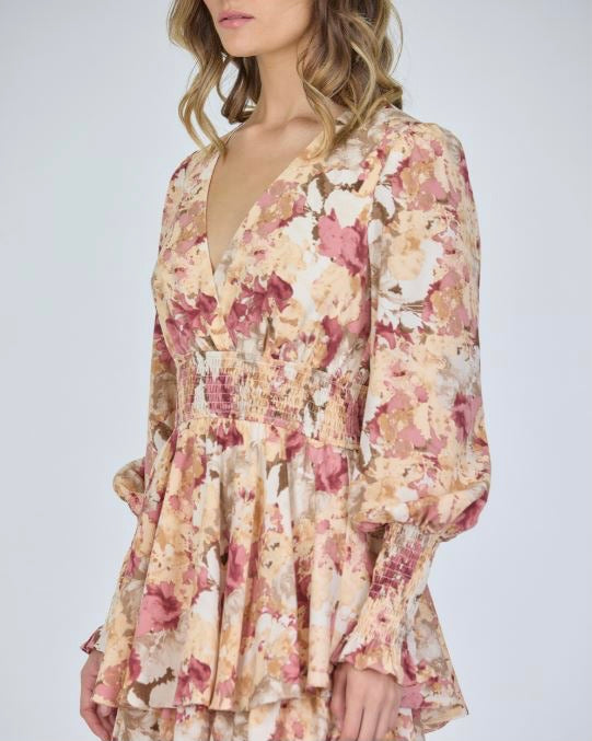 Rose Long Sleeve Mini Dress
