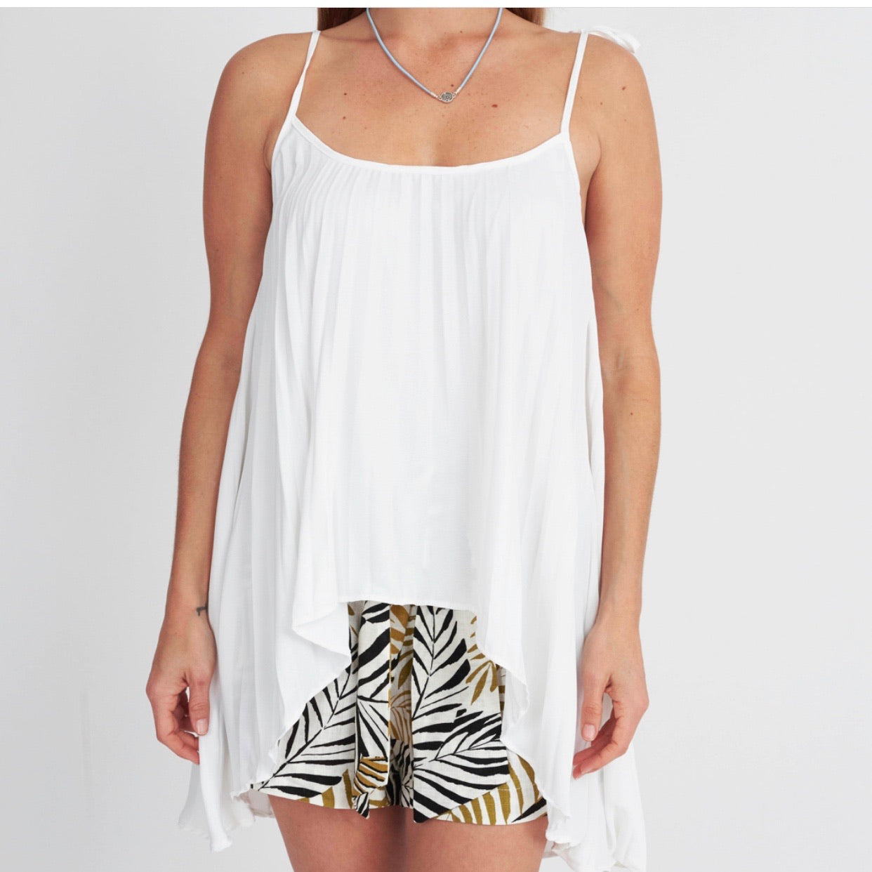 Pleated Tie Strap Top White