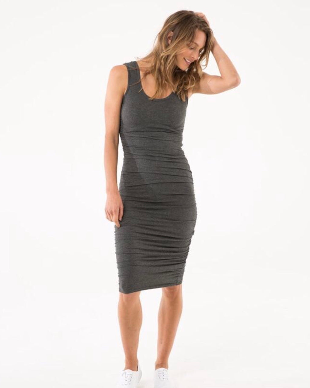 Bamboo Body Ruched Tank Dress Charcoal