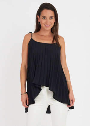 Pleated Tie Strap Top Black