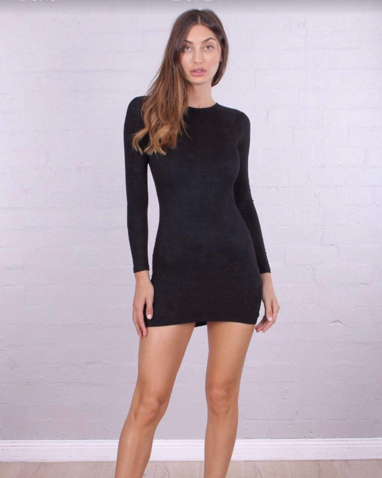 Long Sleeve Faux Suede Black Mini Dress