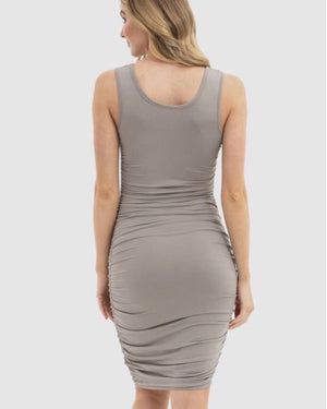 Bamboo Body Ruched Tank Dress Stone