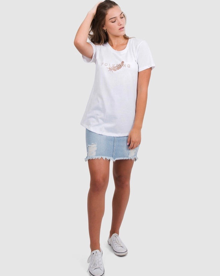 Folksong Feather Logo Tee White