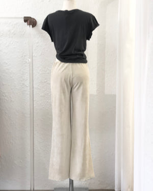 Velour Cream Ribbed Flares