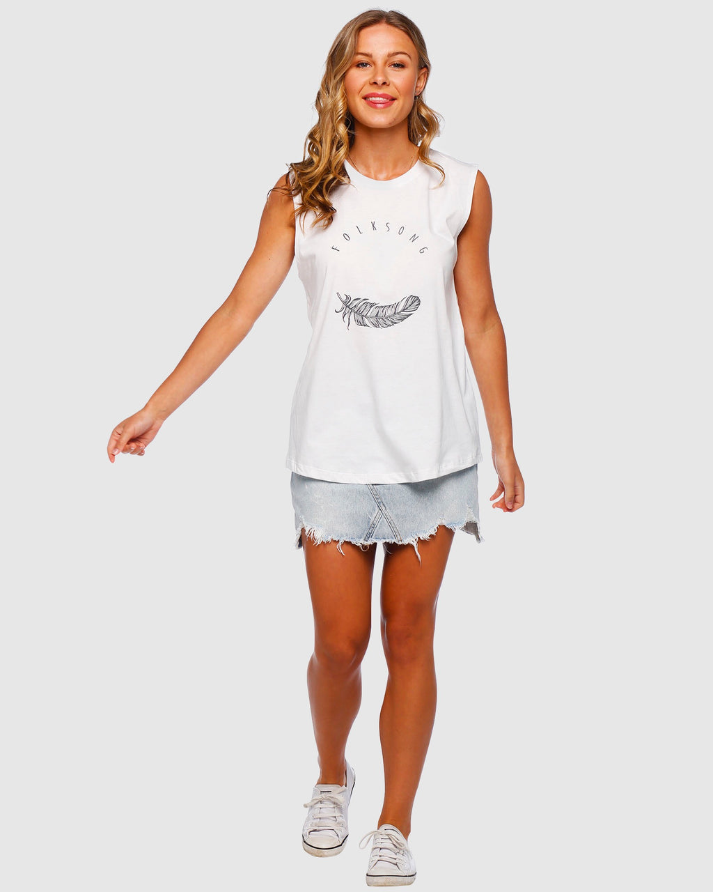 Folksong Feather Tank White