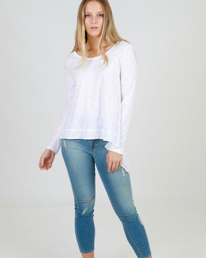 Willow Long Sleeve Tee-White
