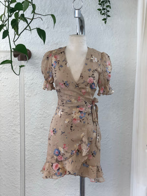 Juliet Floral Wrap Dress Mocha