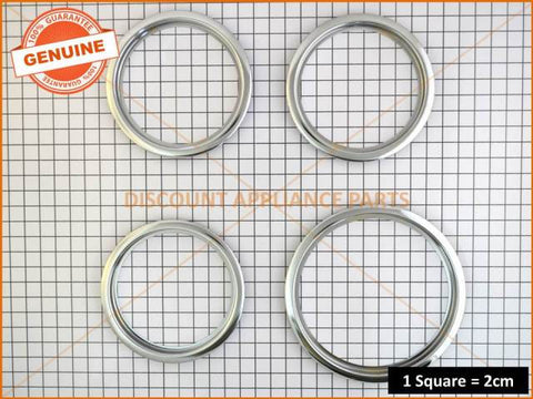 "3 x CHEF WESTINGHOUSE SIMPSON COOKTOP SMALL 6"" TRIM RING # 0545002975 & 1 x LARGE 8"" TRIM RING # 0545002976"