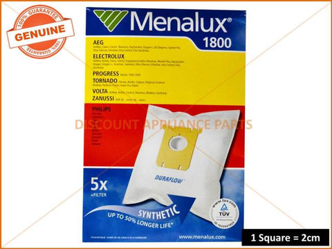 MENALUX VACUUM BAGS SUITS: ELECTROLUX CLARIO EXCELLIO ( PACK OF 5 ) PART # T197 1800