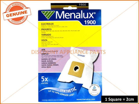 MENALUX VACUUM BAG SUITS: AIRFLOW, HOOVER (PACK OF 5) PART # T120A 1900