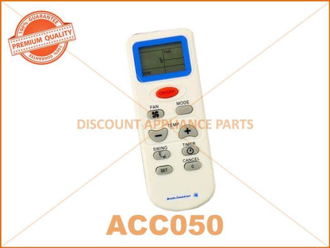 UNIVERSAL AIR CONDITIONER REMOTE PART # ACC050