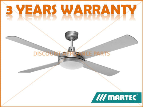 "MARTEC LIFESTYLE 52"" 4 BLADE BRUSHED ALUMINIUM 100W HALOGEN LIGHT CEILING FAN PART # DLS1341B"