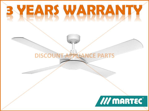 "MARTEC LIFESTYLE 52"" 4 BLADE WHITE CEILING FAN NO LIGHT PART # DLS134W"