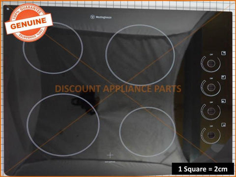 WESTINGHOUSE COOKTOP GLASS AND FRAME ASSY PART # NZ75463