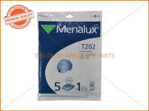 MENALUX VACUUM BAG SUITS: LG GOLDSTAR (PACK OF 5) PART # T202