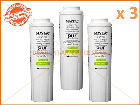 3 x MAYTAG WHIRLPOOL REFRIGERATOR WATER FILTER PART # UKF8001AXX