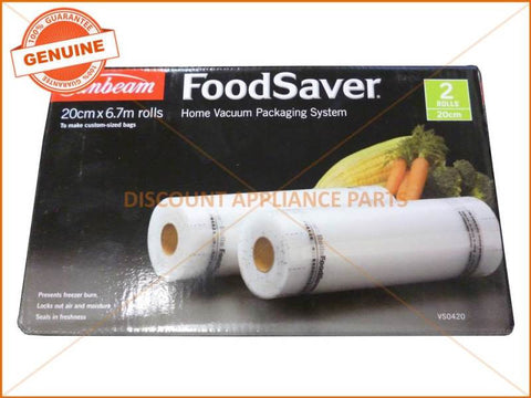 SUNBEAM FOODSAVER 20CM DOUBLE ROLLS ( PACK OF 2 ) PART # VS0420