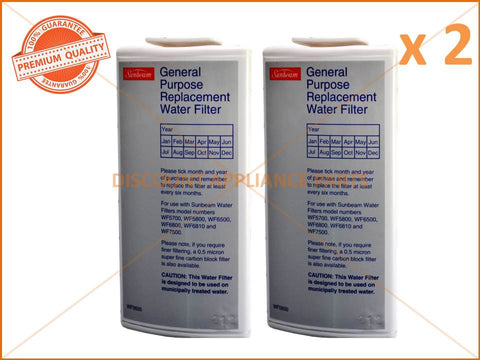 2 x SUNBEAM GENERAL PURPOSE WATER FILTER PART # WF0500 WF0700