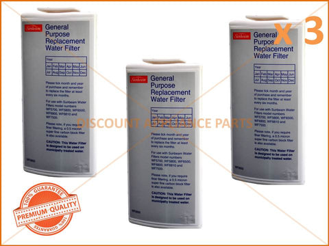 3 x SUNBEAM GENERAL PURPOSE WATER FILTER PART # WF0500 WF0700