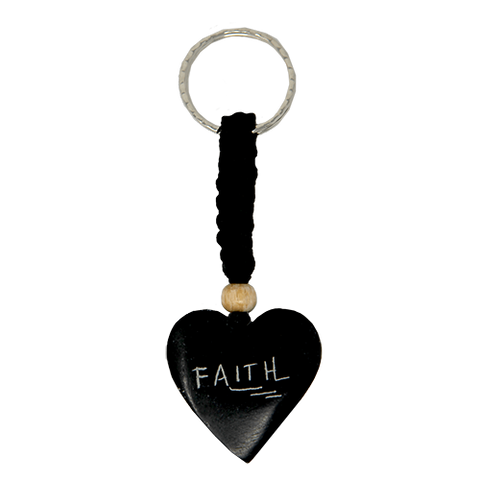 Holy Land Faith Heart Keychain: Hand Carved Serpentine Stone
