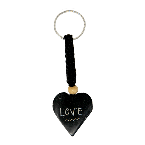 Holy Land Love Heart Keychain: Hand Carved Serpentine Stone