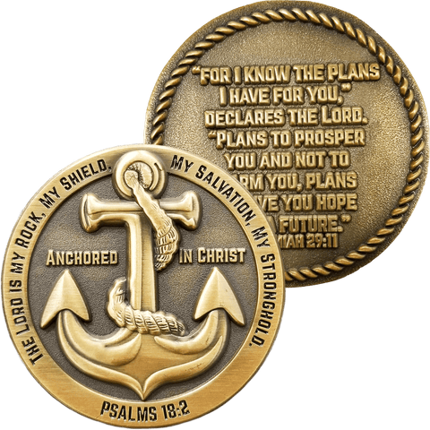 Front and back of Anchored in Christ Antique Gold Plated Christian Challenge Coin